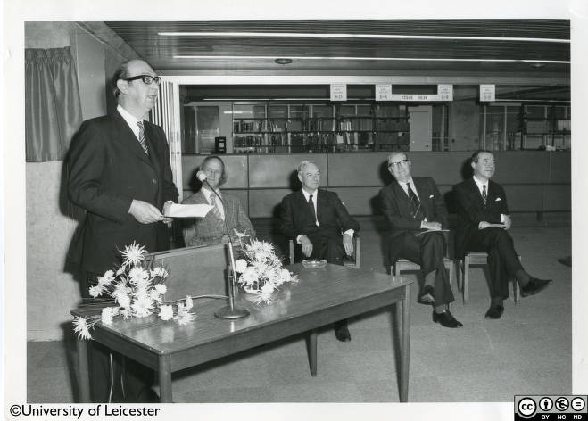 Philip Larkin speaking at opening ceremony of University Library