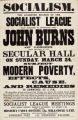 A poster publicising an event with John Burns set up by the Leicester branch of the Socialist League. This meeting...