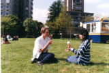 Students eating ice cream in Victoria Park, 1990s